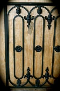 S122 Sample wrought iron rail with hand forged metal Oval with decorative finials and top cap on hand rail
